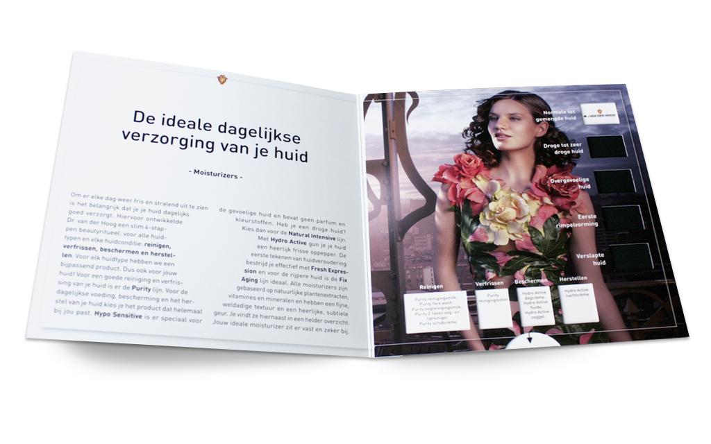Ontwerp visual identity Dr van der Hoog - uitschuifkaart huidtypen