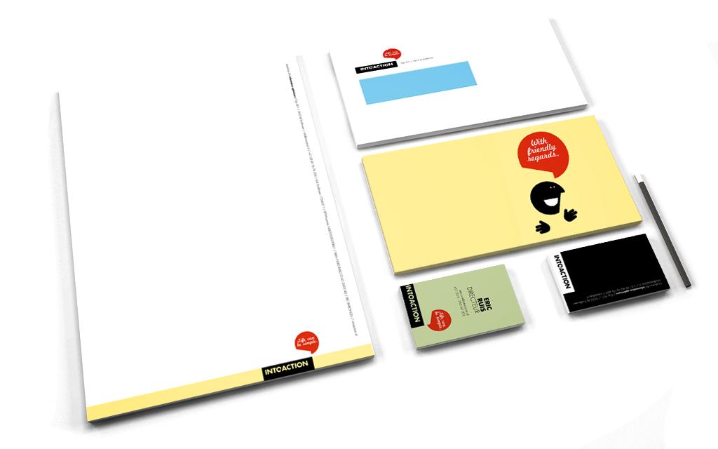 Ontwerp huisstijl IntoAction - stationery