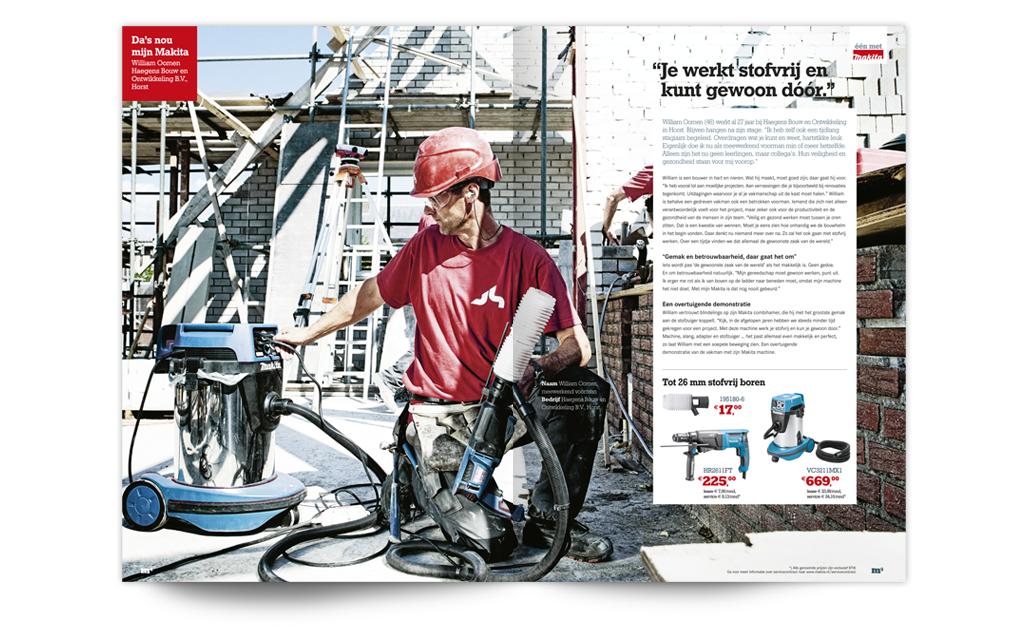 Ontwerp restyling huisstijl Makita - spread magazine